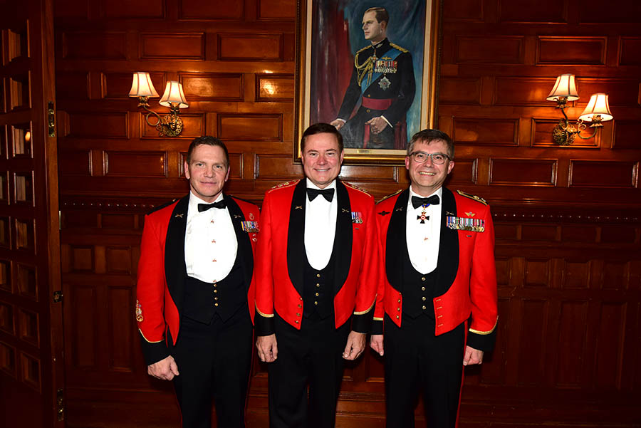 Honorary Colonel Blake Goldring (middle) with Lieutenant-General Paul Wynnyk (right), Commander of the Canadian Army; and Chief Warrant Officer Alain Guimond (left), Canadian Army Sergeant Major, at the Army Officers' Mess in Ottawa for HCol Goldring's retirement dinner on Friday November 24th 2017. 