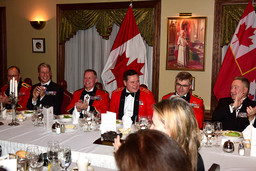 The Head Table enjoying music and conversation as they celebrate Honorary Colonel Blake Goldring's retirement as the Honorary Colonel for the Canadian Army at the Army Officers' Mess in Ottawa. HCol Goldring is the first person to hold the position of Honorary Colonel for the entire Canadian Army.