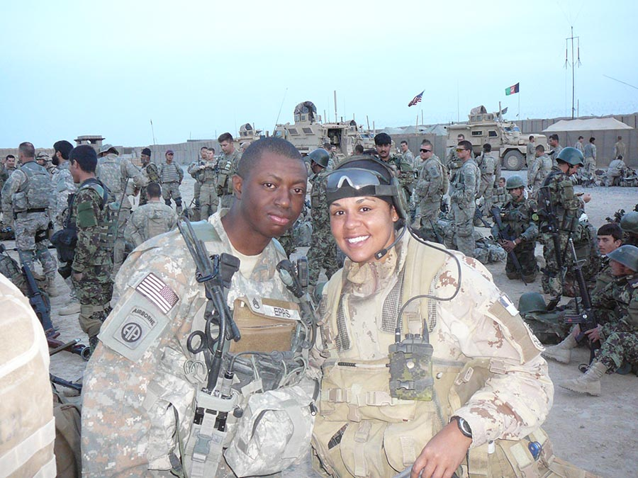Corporal Peggy Harris with Staff Sergeant Epps (82 Airborne Division) preparing for Operation MESMUR in Southern Afghanistan's Arghandab River Valley, involving joint operations with the Afghanistan National Army and the Afghanistan National Police in June 2010 with 82 Airborne Division, which is an active-duty, modular airborne infantry division of the United States Army. 