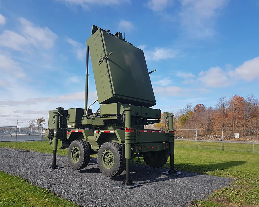 The collapsible Medium Range Radar (MRR) system is shown fully set up on October 27, 2017 at 5th Canadian Division Support Base Gagetown.