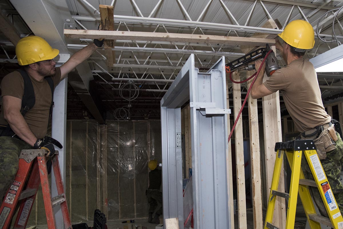 Construction Technicians from 4 Engineer Support Regiment's 45 Vertical Construction Squadron